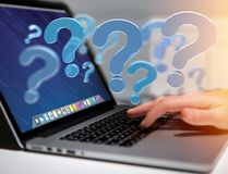 Blue question mark displayed on a futuristic interface - 3d rend Royalty Free Stock Image