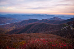 View of the Blue Ridge Mountains. During fall season from parkway stock photos
