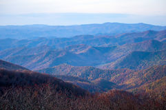 View of the Blue Ridge Mountains. During fall season from parkway royalty free stock image