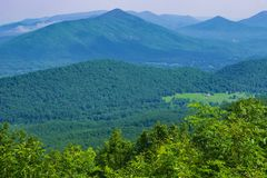 View of the Blue Ridge Mountains and Goose Creek Valley. View of Goose Creek Valley and the Blue Ridge Mountains from the Blue Ridge Parkway located in Bedford Stock Photography