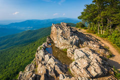 View of the Blue Ridge Mountains from Little Stony Man Cliffs in Royalty Free Stock Photo