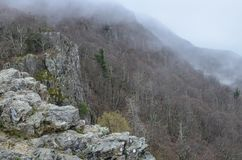 View of the Blue Ridge Mountains at the Little Stony Man mountain overlook hike summit during a foggy spring day. Bare trees, in. Shenandoah National Park royalty free stock images