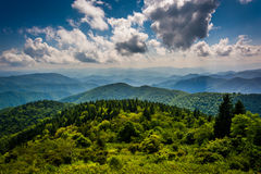 View of the Blue Ridge Mountains seen from Cowee Mountains Overlook on the Blue Ridge Parkway in North Carolina. royalty free stock photo