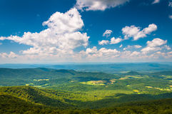 View of the Blue Ridge Mountains and Shenandoah Valley from South Marshall, in Shenandoah National Park, Virginia. stock photography