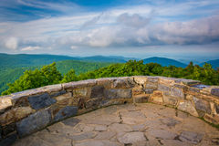 View of the Blue Ridge Mountains from the stone observation deck. On Hawksbill Summit, in Shenandoah National Park, Virginia Royalty Free Stock Images