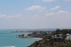 View from the blue and white city of Sidi Bou Said in Tunisia royalty free stock images