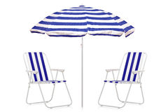 A view of a blue and white striped umbrella Royalty Free Stock Images