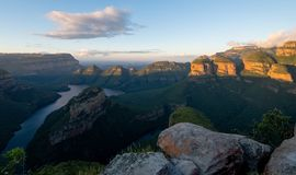 Panoramic view of the Blyde River Canyon on the Panorama Route, Mpumalanga, South Africa. View of the Blyde River Canyon also known as the Motlatse Canyon, on royalty free stock photography
