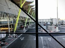 View of a boarding gate inside an airport royalty free stock photo