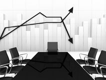 View of boardroom. With graphs on an isolated background Royalty Free Stock Image