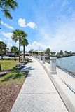 A view of the boardwalk at the Bridge of Lions on the Mantazas River in Historic St. Augustine, Floria USA. A view of the boardwalk along the Mantazas River near Stock Photo
