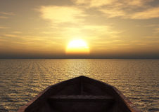 View from a boat. Out at sea during sunset Stock Image