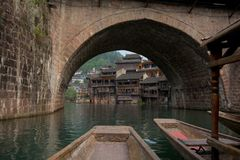 Ancient City Fenghuang China. View from the boat in Ancient City Fenghuang China stock photos