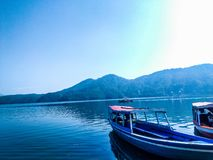 View of boat in cirata lake west java indonesia stock photo