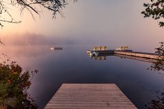 Dock on Lac-Superieur, Mont-tremblant, Quebec, Canada stock photo