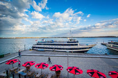 View of a boat docked at the Harbourfront in Toronto, Ontario. Stock Image