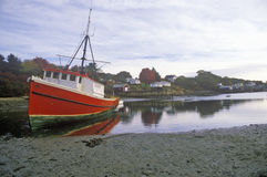 View of boat in harbor in Lobster Village, ME, Mount Desert Island Stock Images