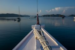 View on a boat in Labuan Bajo in Indonesia.  Royalty Free Stock Photo