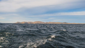 A view from the boat of Lake Titicaca in Puno Royalty Free Stock Images