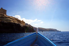 View from boat on Mediterranean sea. Going to see the Blue Lagoon in Malta on a small motor boat ride Royalty Free Stock Image
