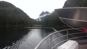 View from the boat for mountains on background of calm water in Pacific Ocean. stock video footage