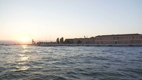 View from boat moving along Grand Canal at Venice streets and architecture. Stock footage stock footage