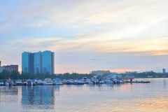 View of the boat pier on the outskirts of St. Petersburg at sunset. Stock Image