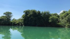 The View From the Boat On the River With Trees.  stock video footage