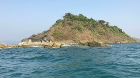 View from boat to island, Ngapali, Myanmar. View from boat to tropical island, Ngapali, Myanmar stock footage