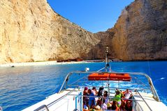 MOTORBOAT TRIP AROUND GREEK ISLANDS. A view from the boat to the shipwreck bay on the Greek island of Zakhynthos royalty free stock image