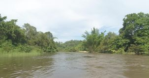 View from boat of tropical green forest with river. View from boat of beautiful natural scenery of river in Asia tropical green forest with mountains - video in stock footage