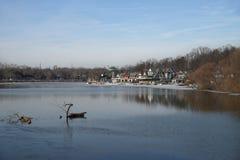 View of boathouse row, Philadelphia in winter. Stock Photos