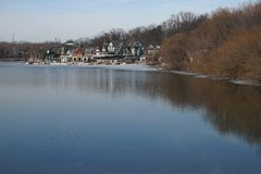 View of boathouse row, Philadelphia in winter. Royalty Free Stock Photography