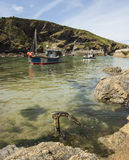 View of boats in Boscastle harbour Stock Photo