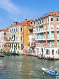 View of boats in Grand Canal in Venice city Royalty Free Stock Photography