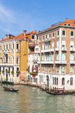 View of boats in Grand Canal in Venice city Stock Photos