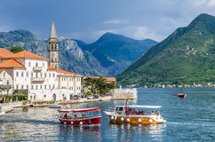 View on boats and Kotor bay in Perast city Royalty Free Stock Photo