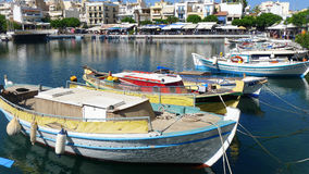 View of boats on the lake in greece Stock Images