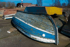 View on boats lying in hangars fishermen Stock Images