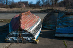 View on boats lying in hangars fishermen Stock Photography