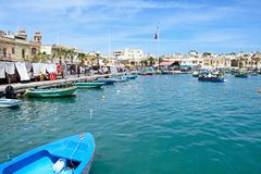 View of boats in Marsaxlokk harbour, Malta. Royalty Free Stock Photos