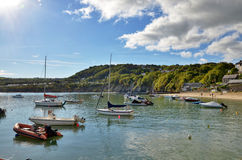 View of boats in New Quay harbour, Wales. Royalty Free Stock Photography