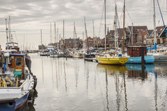 View on boats in port Urk -  Netherlands,  town in Flevoland. Royalty Free Stock Photos