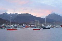 Boats on river. View of boats on river and mountains at back Royalty Free Stock Photography
