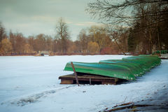 View of the boatyard. In the early spring, beautiful landscape, the opening of the ski season Royalty Free Stock Images
