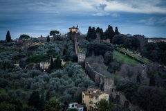 View of Boboli Garden. From Michaelangelo plaza in florence, italy. taken in the morning Stock Photography