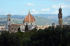 Cathedral of Florence and the Giottos campanile - Italy. View from the Boboli Gardens to the Cathedral of Santa Maria del Fiore and the Giottos campanile and Stock Photos