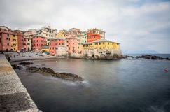 View of Boccadasse in Genoa Genova quarter, looks like a small village surrounded by a city. Italy. View of Boccadasse in Genoa Genova quarter, looks like a royalty free stock image
