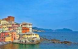 View of Boccadasse and the Ligurian sea 2, under a perfect blue sky, Genoa, Liguria, Italy 2019. royalty free stock photo
