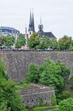 View of bock casemates from the bridge in Luxembourg City. A view of bock casemates from the bridge in Luxembourg City Stock Photo